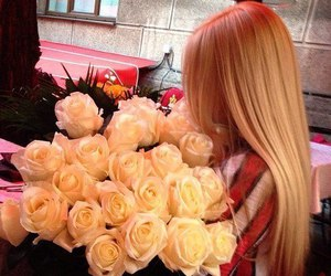 rose, blonde, and flowers image
