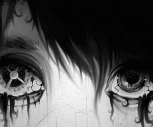 eyes, anime, and black and white image