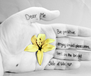 flower, hand, and Letter image