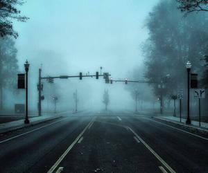 road, fog, and street image