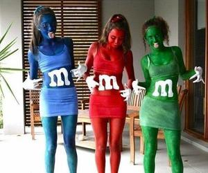 girl, m&m, and blue image