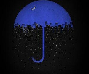 city, night, and umbrella image