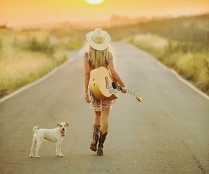 dog, girl, and guitar image