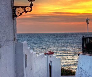 sunset, spain, and sea image
