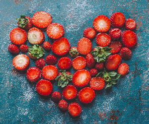 fruit, strawberry, and heart image