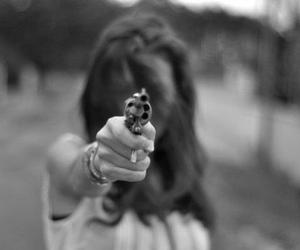 gun, girl, and black and white image