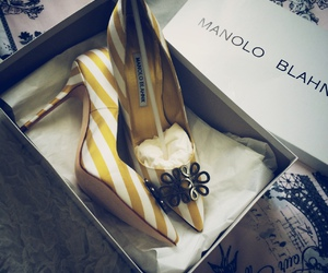 manolo blahnik, fashion, and yellow image