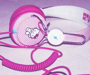 headset, hello kitty, and music image