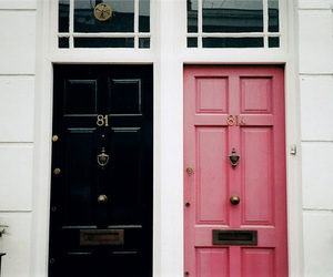 door, pink, and black image