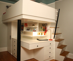 kids room, colorful theme, and white loft bed image