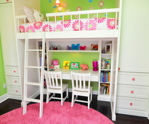 kids room, white loft bed, and attic kids' bedroom image