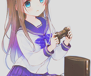 anime, blue eyes, and brown hair image