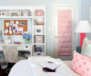 bedroom, pink, and desk image
