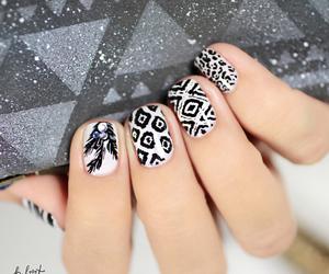 black and white, nail art, and nail polish image