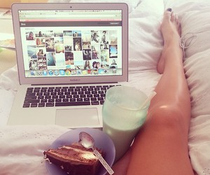 legs, laptop, and cake image