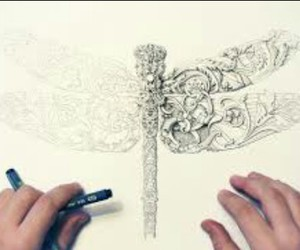 drawing, wallpaper, and dragon-fly image