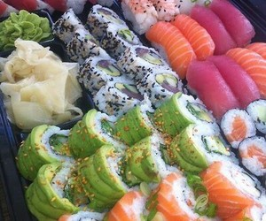 colors, yummy, and sushi image