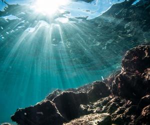 sea, ocean, and sun image
