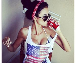girl, coca cola, and sexy image