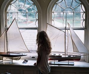 girl, boat, and window image
