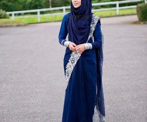 hijab, blue, and sari image
