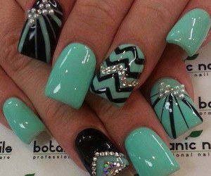 black, nails, and bluegreen image