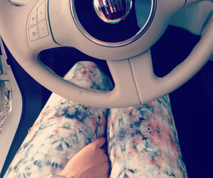 car, fiat 500, and girl image