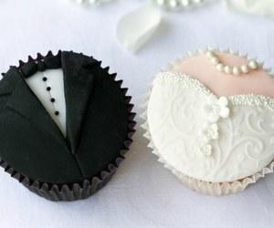 wedding, cupcake, and bride image
