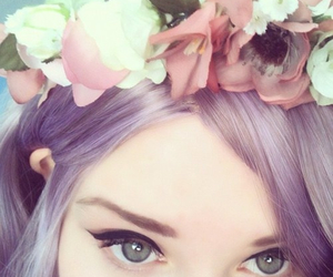 flowers, hair, and eyes image