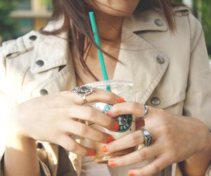 girl, starbucks, and nails image