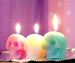 candle, skull, and pink image