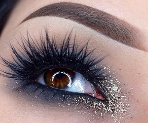 eyeshadow, glitter, and golden image