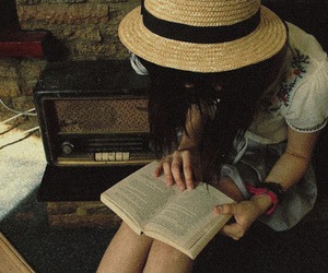 girl, book, and hat image
