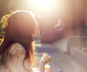 girl, bubbles, and heart image