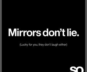 laugh, mirror, and sarcasm image