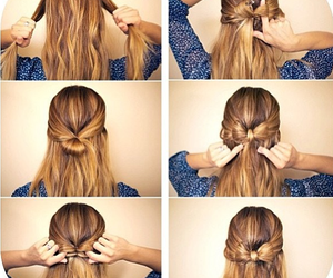bow, brunette, and hair image
