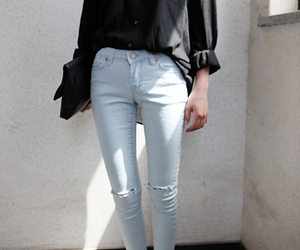 black and white, casual, and fashion blogger image