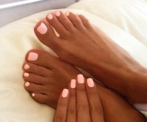 baby pink, manicure, and pedicure image