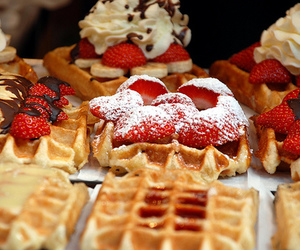 strawberry, food, and waffles image