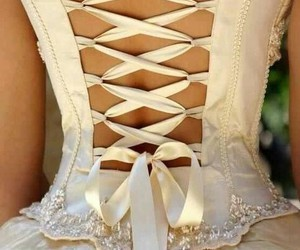 dress, wedding, and corset image