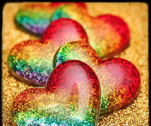 hearts, rainbow, and heart image