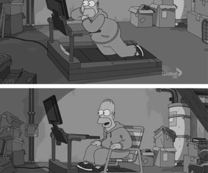 black&white, funny, and simpsons image