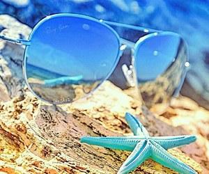 beach, blue, and sun image