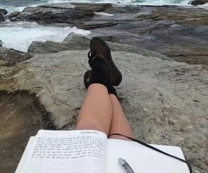 beach, notebook, and sea image