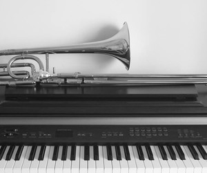 music, piano, and trombone image