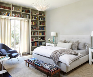 bedroom, home library, and inspiring interiors image