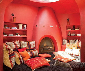 red, room, and bedroom image