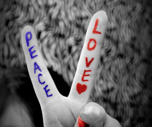 black and white, peace and love, and red and blue image