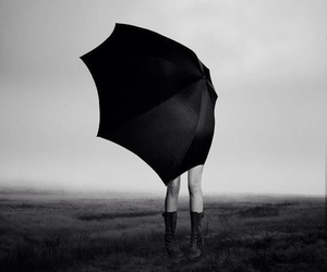 umbrella, photography, and black and white image