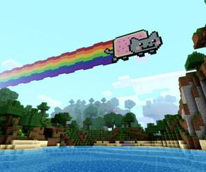 game, minecraft, and nyan cat image